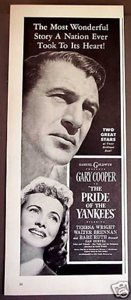 Pride of the Yankees With Gary Cooper Babe Ruth (1949)