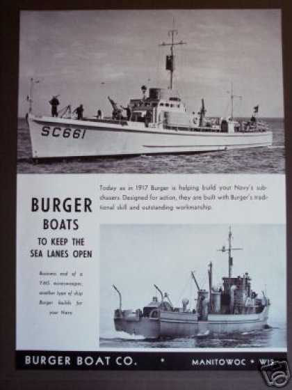 Burger Boat Navy Sub Chaser Minesweeper Photo (1942)