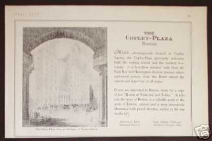 The Copley Plaza Hotel Boston Art (1927)