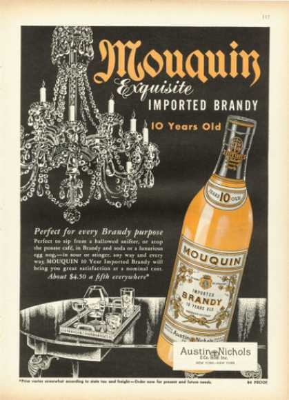 Austin Nichols Mouquin Brandy Bottle (1955)