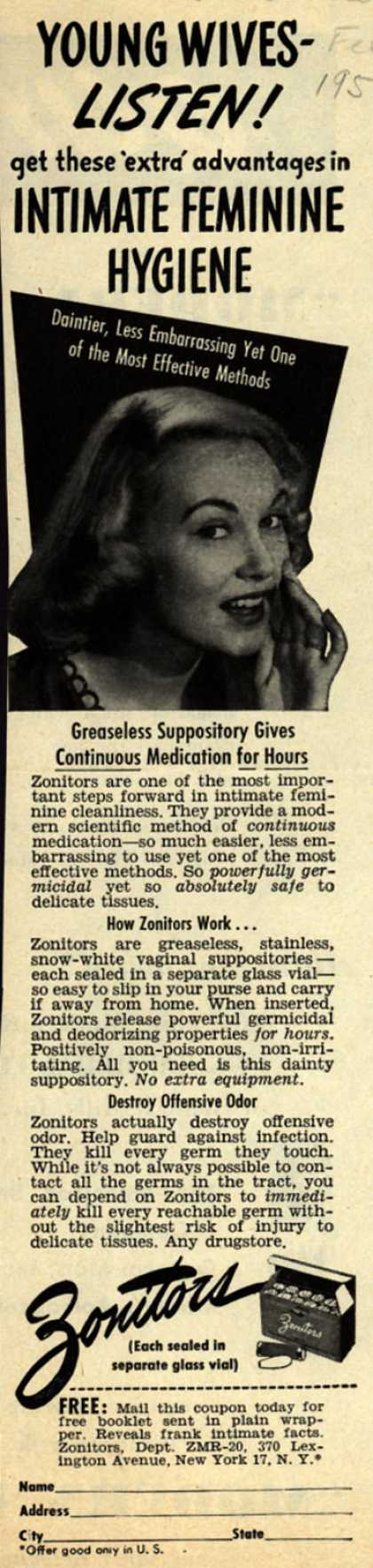 Zonitor's Vaginal Suppositories – Young Wives-Listen! get these 'extra' advantages in Intimate Feminine Hygiene (1950)