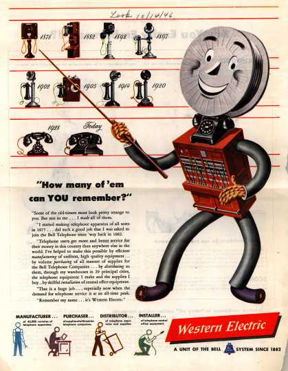 """Western Electric's Corporate Ad – """"How many of 'em can YOU remember?"""" (1946)"""