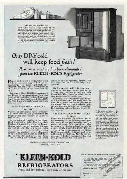 "Kleen-kold Refrigerators ""Dry Cold"" Antique (1924)"