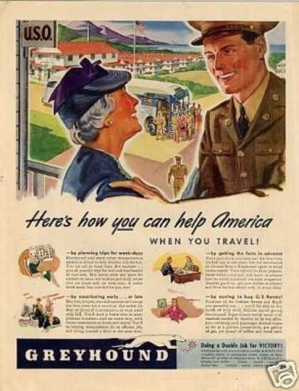 Greyhound Bus Ad 'here's How You Can Help... (1942)