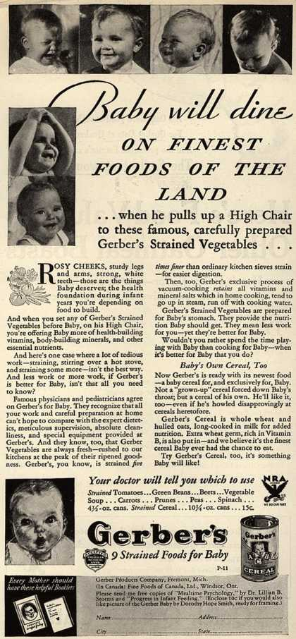 Gerber Products Company's Gerber Strained Foods for Baby – Baby Will Dine on Finest Foods of the Land (1933)