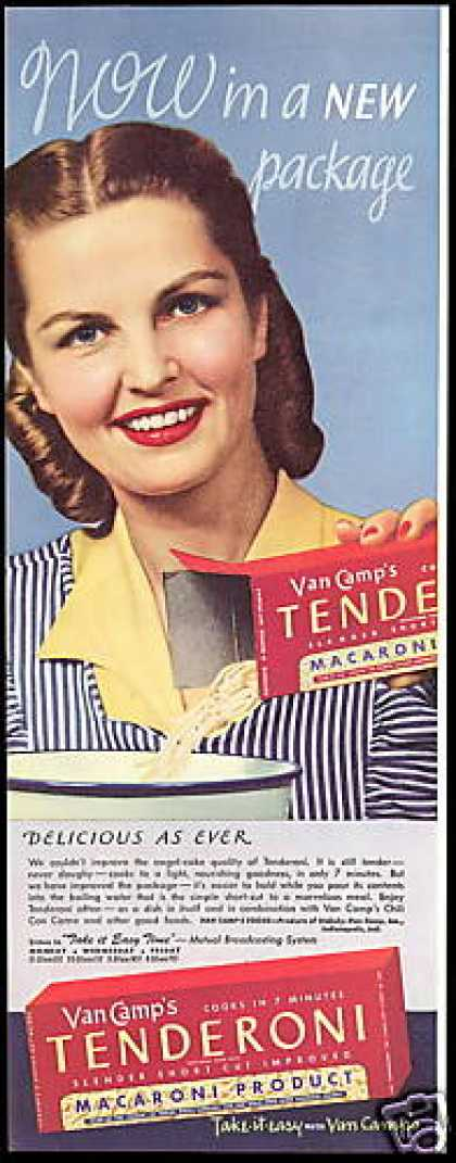 Van Camps Food Tenderoni Macaroni (1946)
