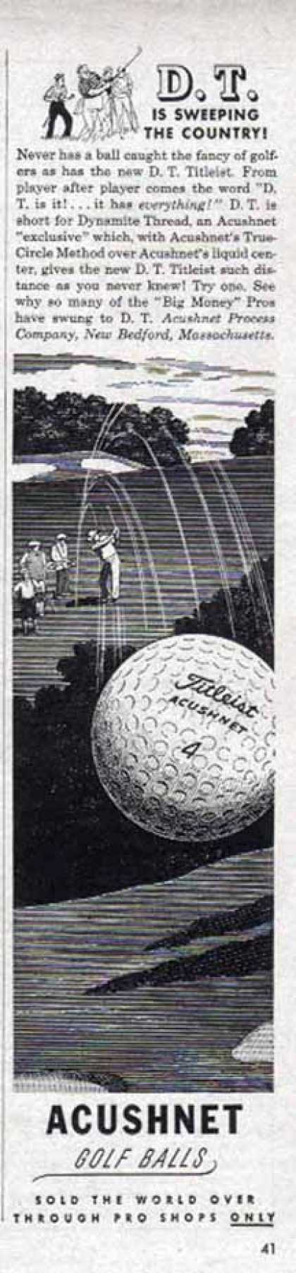 Titleist Acushnet Golf Ball – D.T. Sweeping the Country (1949)