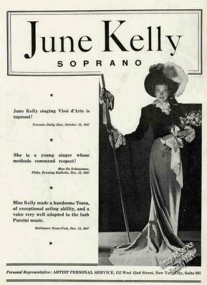 June Kelly Photo Soprano Opera (1948)