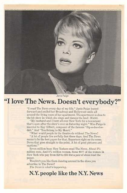 Janis Paige New York News Photo (1968)