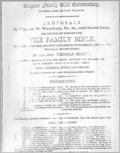 Elegant family Bible commentary. In four large quarto volumes. Proposals by William W. Woodward ... for printing by subscription, the family Bible ... (1804)