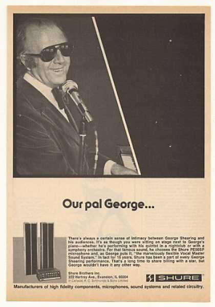 George Shearing Shure Microphone Photo (1976)