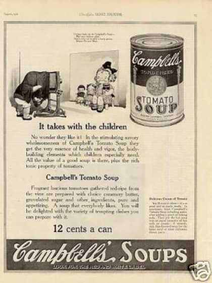 "Campbell's Tomato Soup Ad ""It Takes With Children (1921)"