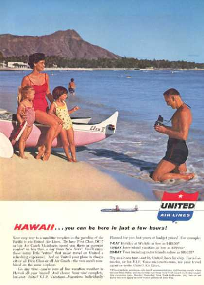 United Airlines Beach Diamond Head Waikiki (1957)