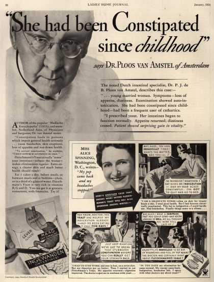 "Standard Brand's Fleischmann's Yeast – ""She had been constipated since childhood"" (1934)"