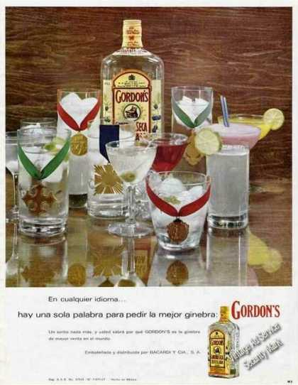 Gordons Gin Large Spanish Language (1968)