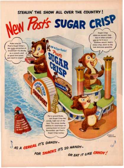 Post Sugar Crisp Cereal Ad Paddlewheel Steamboat (1951)