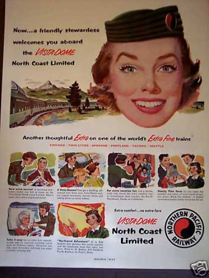 Northern Pacific Railway Train Stewardess Art (1955)