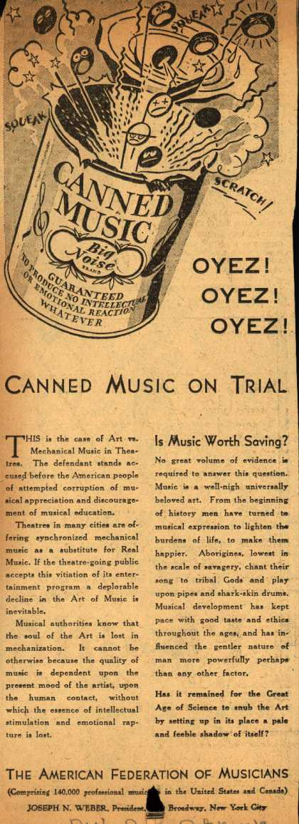 American Federation of Musician's Radio Program – Canned Music on Trial (1929)