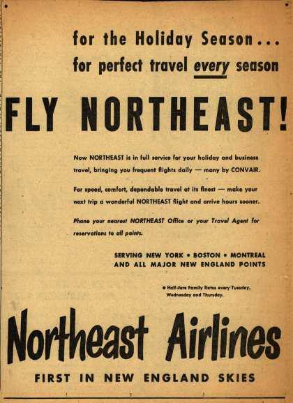 Northeast Airlines – for the Holiday Season... for perfect travel every season FLY NORTHEAST (1952)