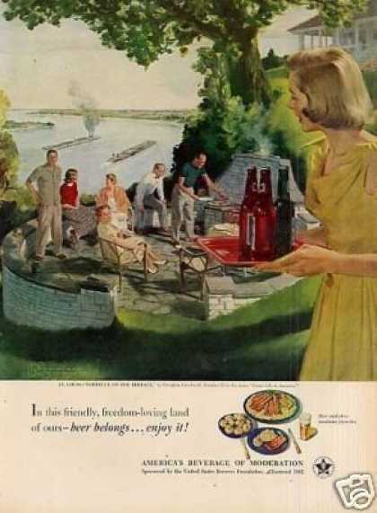 "Beer Belongs Ad ""Barbecue On the Terrace"" (1951)"