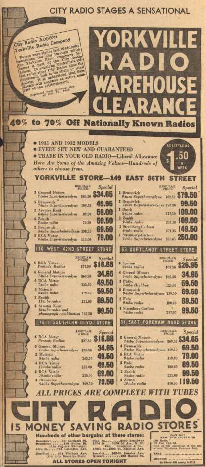 City Radio (Yorkville Store)'s Radios – City Radio Stages a Sensational Yorkville Radio Warehouse Clearance. 40% to 70% Off Nationally Known Radios (1932)