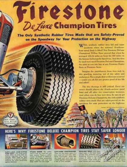 Firestone Deluxe Champion Tires Race Car Theme (1945)
