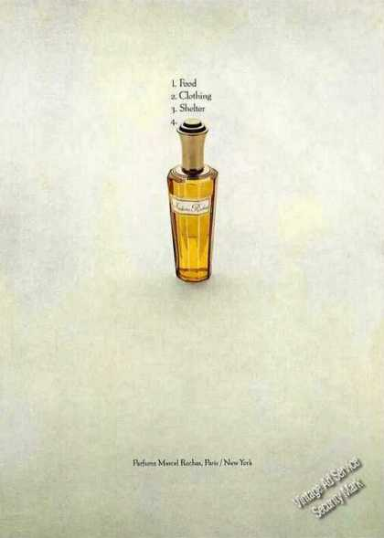"Parfums Marcel Rochas ""Food-clothing- (1972)"