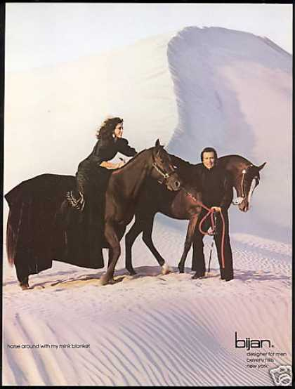 Bijan Fashion Mink Fur Blanket Horse Photo (1982)