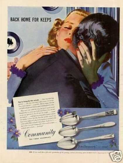 Community Silverplate Ad Whitcomb Art (1945)