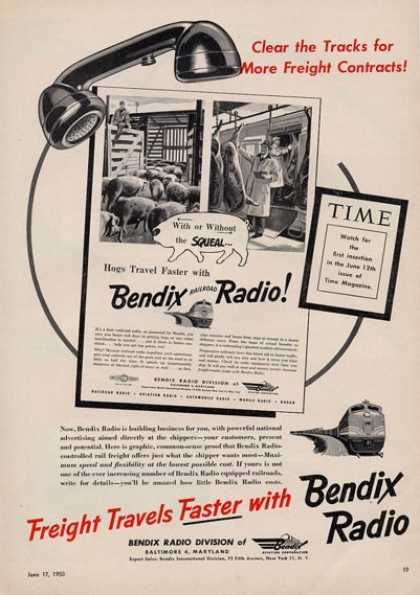 Bendix Radio Hogs Travel Faster With... (1950)