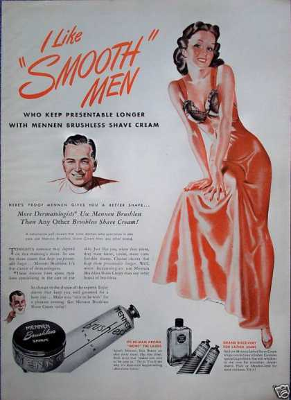 Mennen Shave Cream Sexy Negligee Like Smooth (1946)