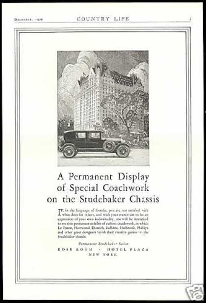 Studebaker Car Display New York Plaza Hotel (1927)