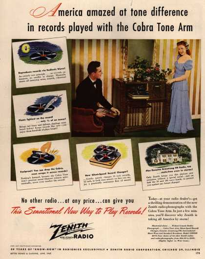 Zenith Radio Corporation's Radio-Phonograph – America amazed at tone difference in records played with the Cobra Tone Arm (1947)