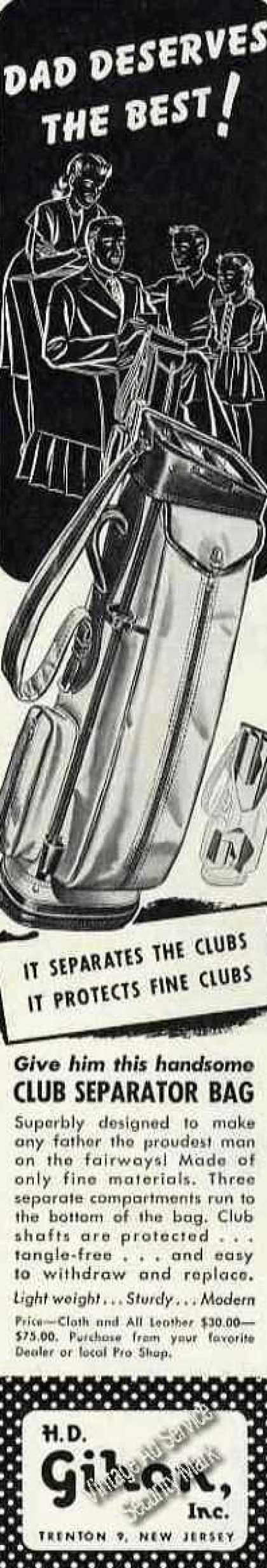 H D Gihon Club Separator Golf Bag Trenton Nj (1947)