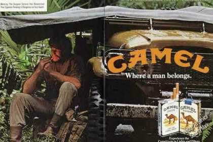 Camel Cigarettes Man Sitting Under Tarp (1983)