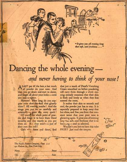 Pond's Extract Co.'s Pond's Vanishing Cream – Dancing the whole evening- and never having to think of your nose (1924)
