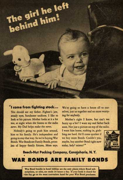 Beech-Nut Packing Co.'s War Bonds – The Girl He Left Behind! War Bonds Are Family Bonds (1944)