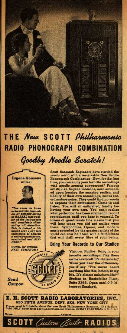 E.H. Scott Radio Laboratorie's Radio – The New Scott Philharmonic Radio Phonograph combination... Goodbye Needle Scratch (1937)