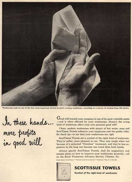 Scott Paper Company's ScotTissue Towels – In these hands... more profits in good will (1948)