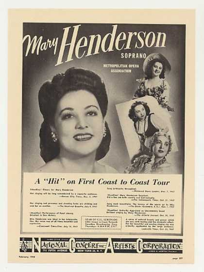 Met Opera Soprano Mary Henderson Photo (1948)