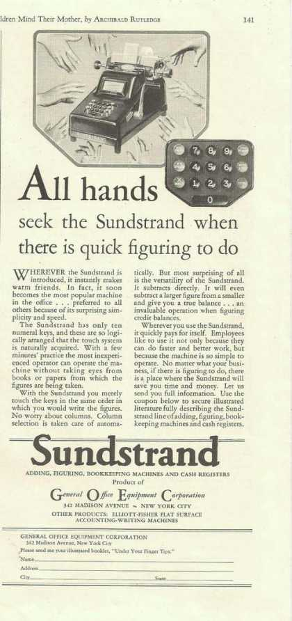 All Hands Sundstrand Adding Machine (1929)