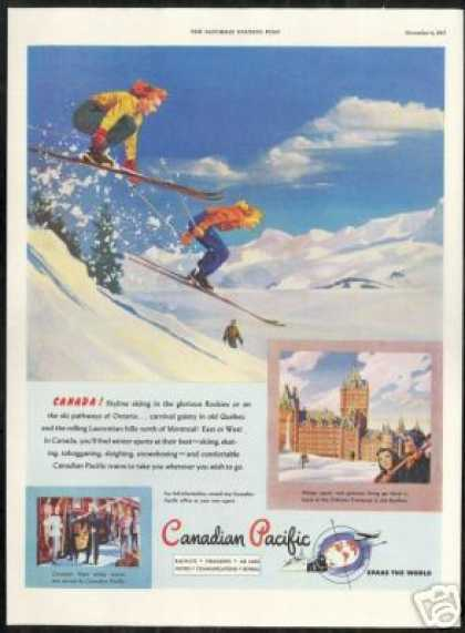 Canadian Pacific Snow Skier Chateau Frontenac (1947)