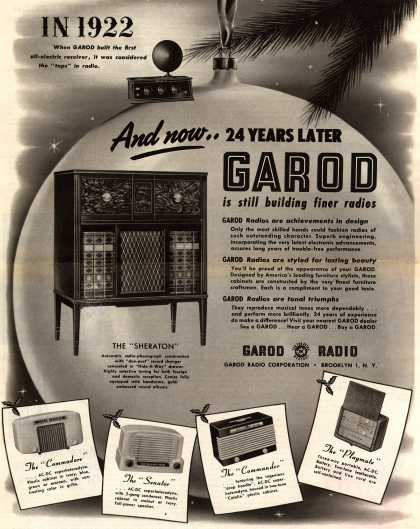"Garod Radio Corporation's Various – In 1922 When Garod Built the First All-Electric Receiver, It Was Considered the ""Tops"" in Radio. And now..24 Years Later Garod is Still Building Fine (1946)"