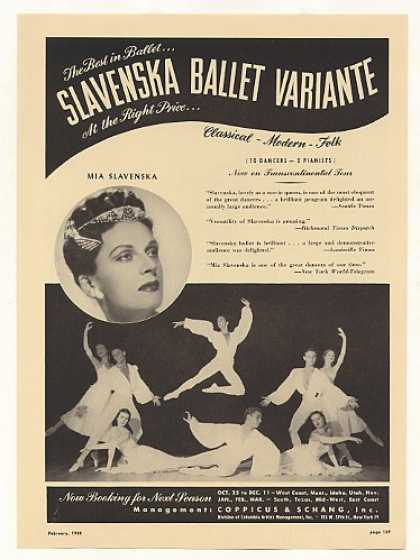 Mia Slavenska Ballet Variante Photo Booking (1948)