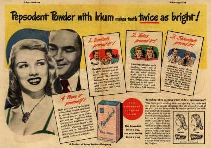 Lever Brothers Company's Pepsodent Tooth Powder – Pepsodent Powder with Irium makes teeth twice as bright (1947)