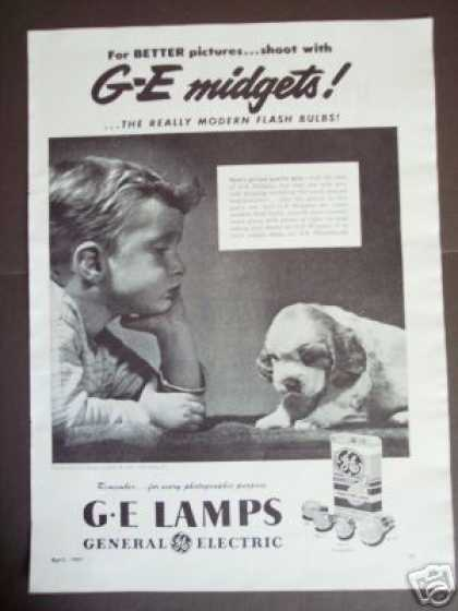 Boy + Puppy Photo Ge Midgets Camera Flash Bulbs (1947)