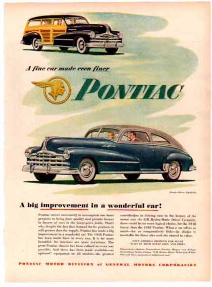 Pontiac Car – Streamliner Station Wagon, Deluxe Sedan Coupe (1948)