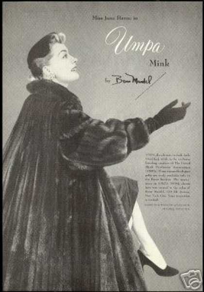 UMPA Mink Vintage Fur Coat Benn Mandel Photo (1954)