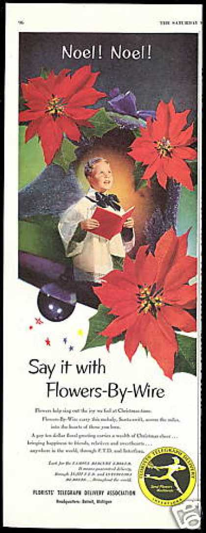Christmas FTD Florist Poinsettia Flowers Choir (1952)