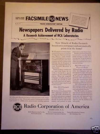 Newspapers Delivered By Rca Radio Fax Service (1940)